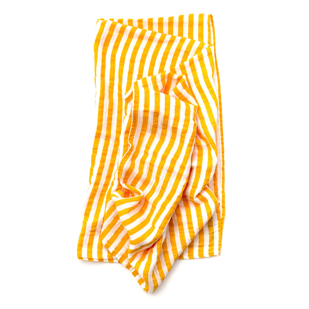 clementine kids single cotton muslin baby swaddle blanket in yellow and white citrus stripe pattern folded