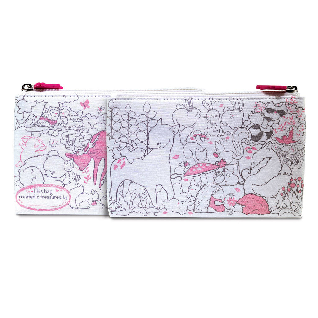 piggy story creative coloring carry all pouch with zipper in fox and woodland friends pattern