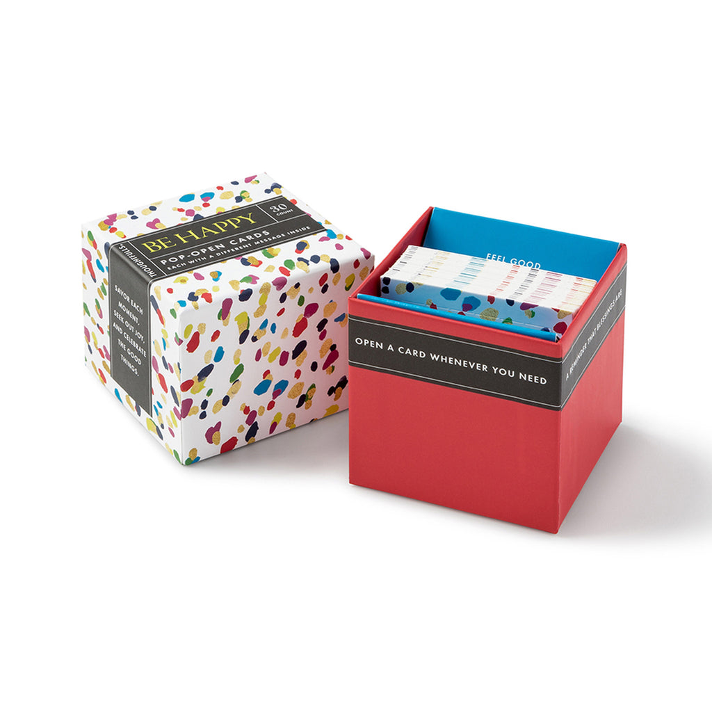 compendium be happy thoughtfulls pop open cards with different inspiring quotations packaging with lid off