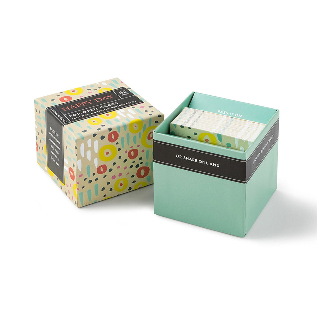 compendium happy day thoughtfulls pop open cards with different inspiring quotations in packaging with lid off