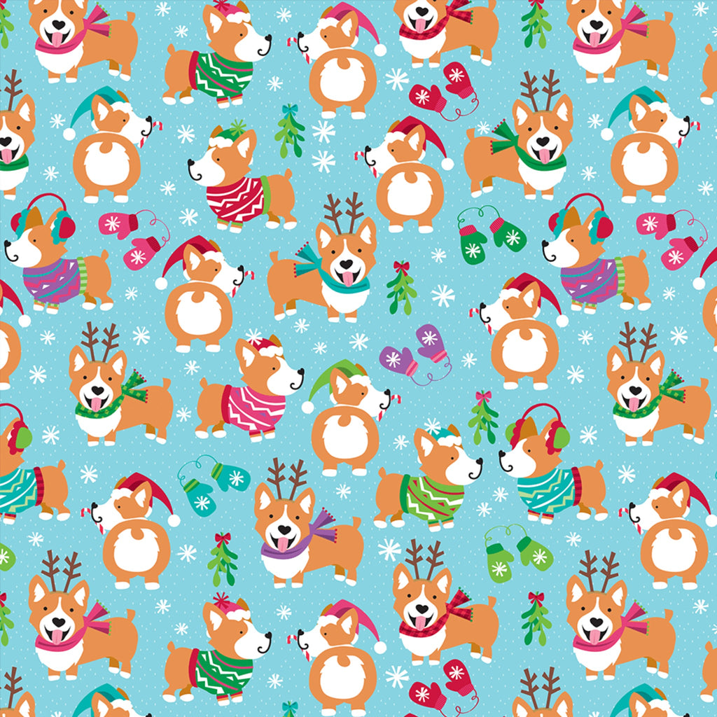 light blue wrapping paper with festive corgi dogs in sweaters, scarves, and antlers