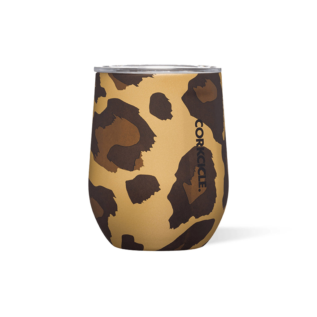 corkcicle luxe leopard 12 ounce insulated stemless cup with clear spill resistant lid