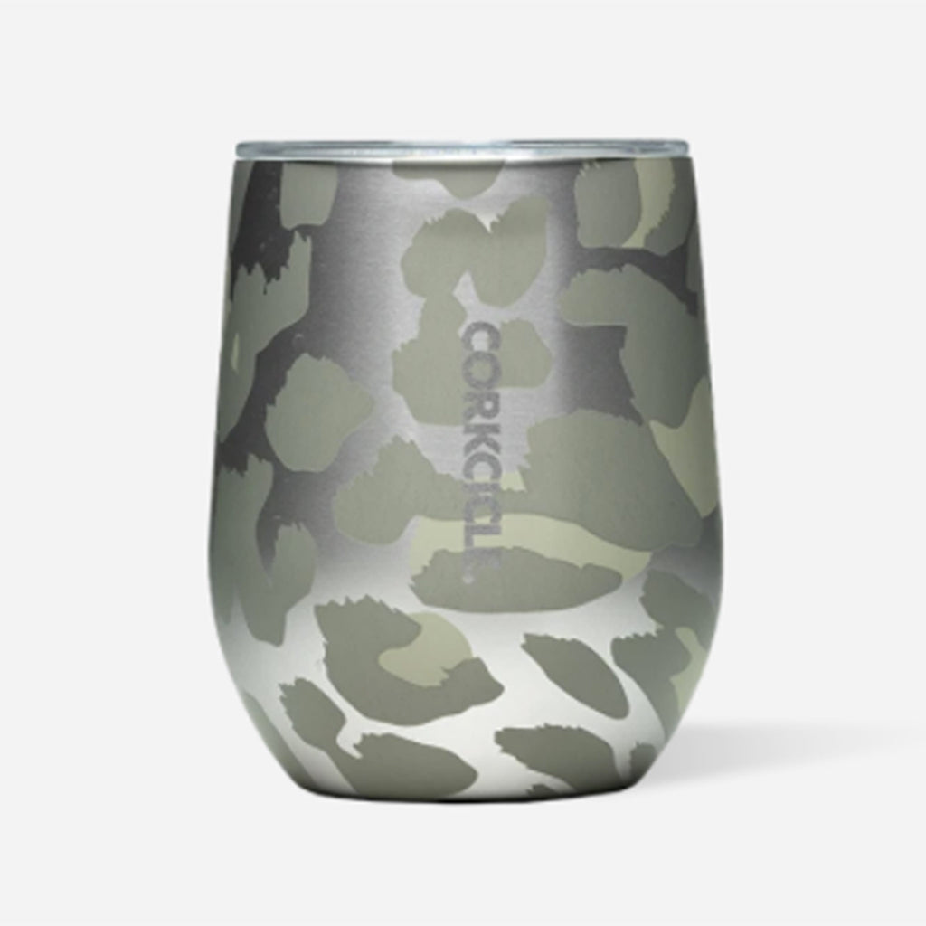 corkcicle exotic snow leopard insulated 12 ounce stemless cup with lid front view