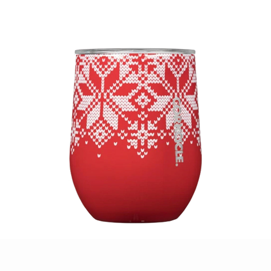 corkcicle fairisle red holiday print 12 ounce insulated stemless cup with lid
