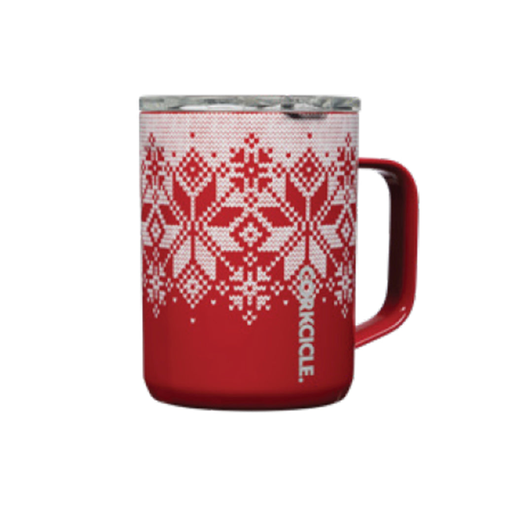 corkcicle fairisle red holiday print 16 ounce insulated coffee mug with lid