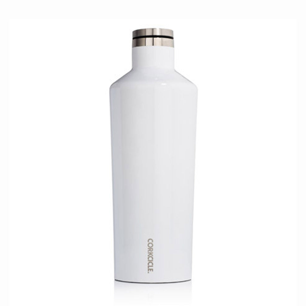 corkcicle glossy white 60 ounce insulated reusable stainless steel canteen with lid