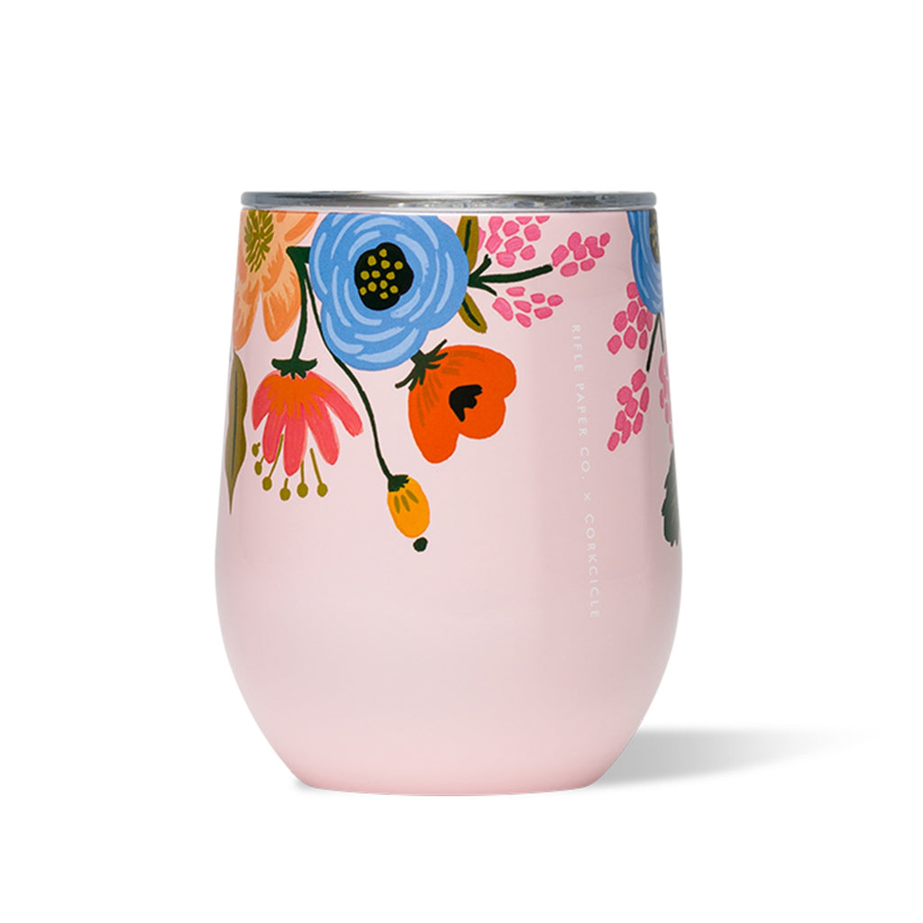 corkcicle x rifle paper co gloss blush lively floral print insulated stemless cup with lid side view