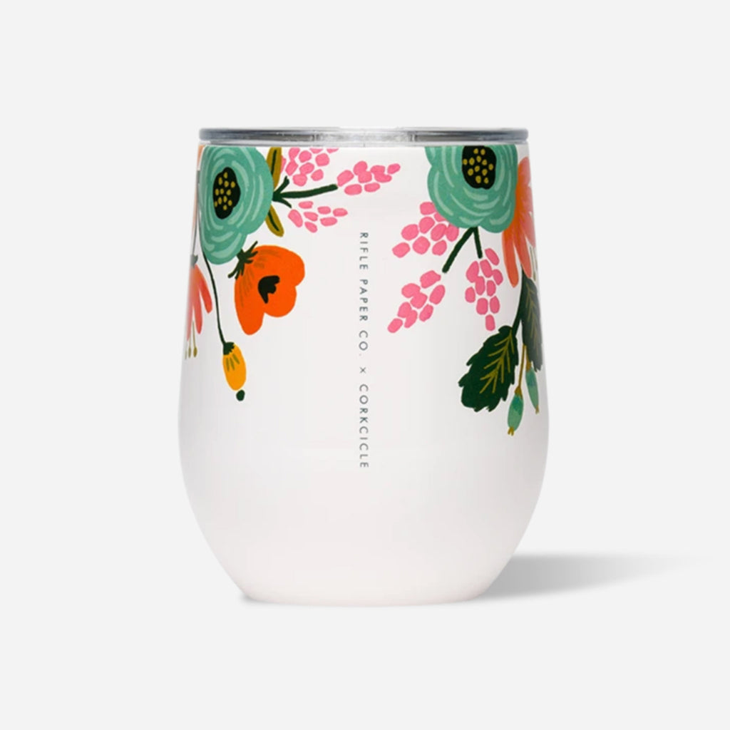 corkcicle x rifle paper co gloss cream lively floral print insulated stemless cup with lid front view