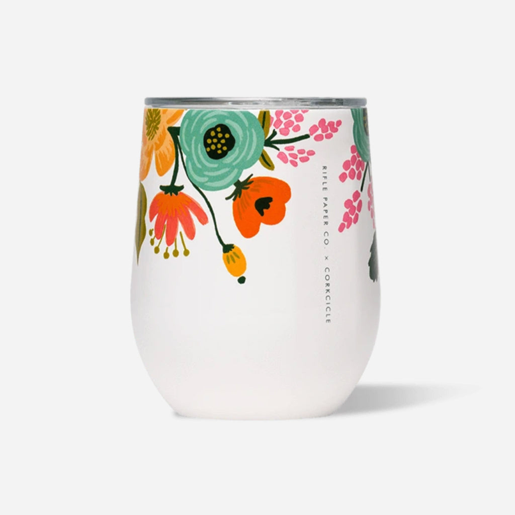 corkcicle x rifle paper co gloss cream lively floral print insulated stemless cup with lid side view