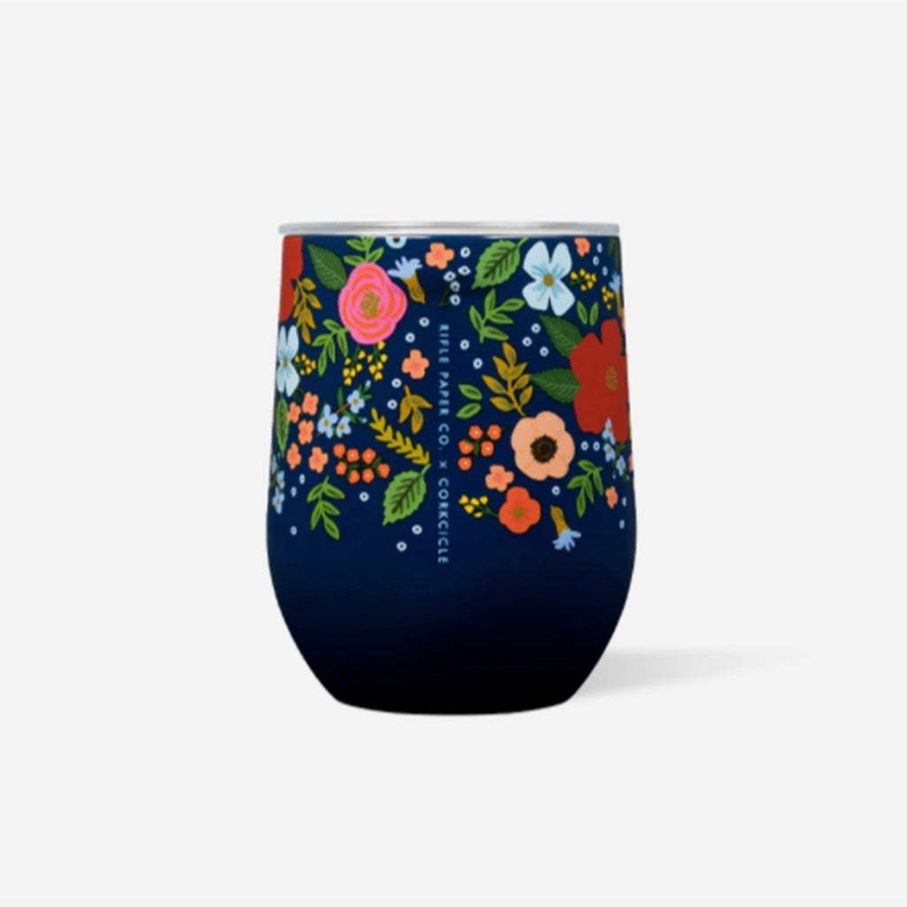rifle paper co x corkcicle navy wild rose floral pattern 12 ounce insulated stemless cup with lid