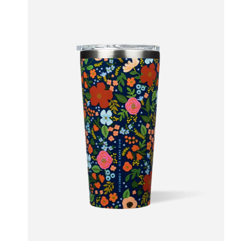 rifle paper co x corkcicle navy wild rose floral pattern 16 ounce insulated tumbler cup with lid