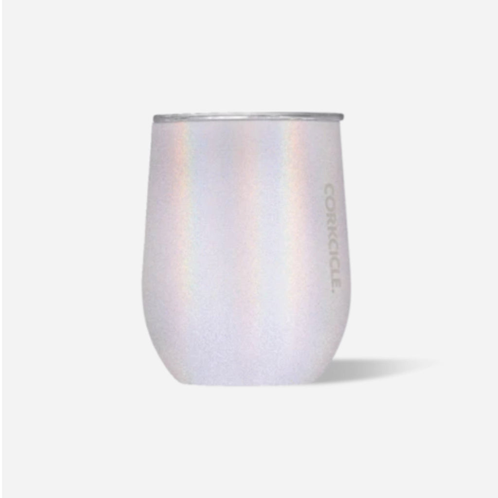 corkcicle unicorn magic iridescent insulated stemless cup with clear spill resistant lid