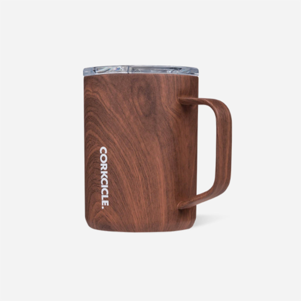corkcicle walnut wood patterned insulated coffee mug with clear spill resistant lid