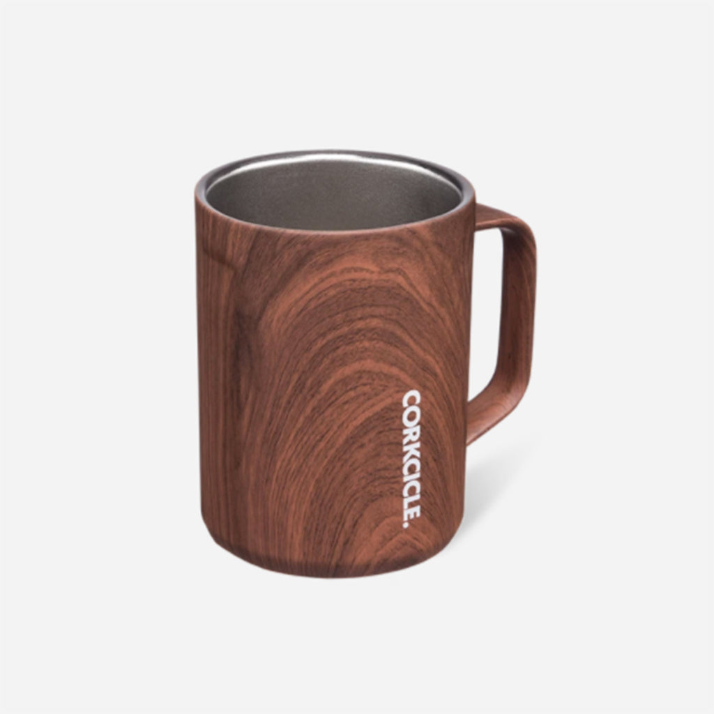 corkcicle walnut wood patterned insulated coffee mug without lid