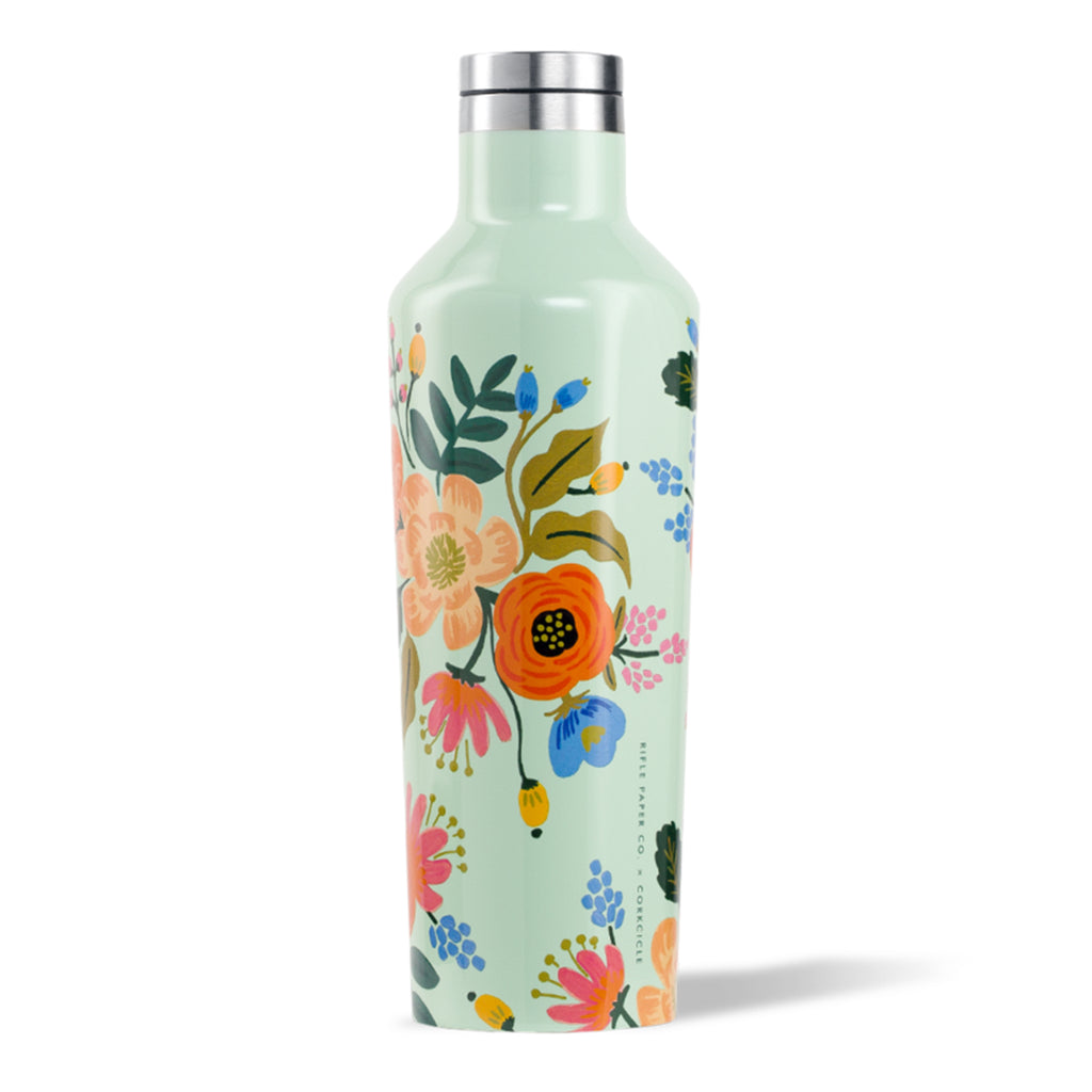 rifle paper corkcicle 16 oz canteen mint green lively floral