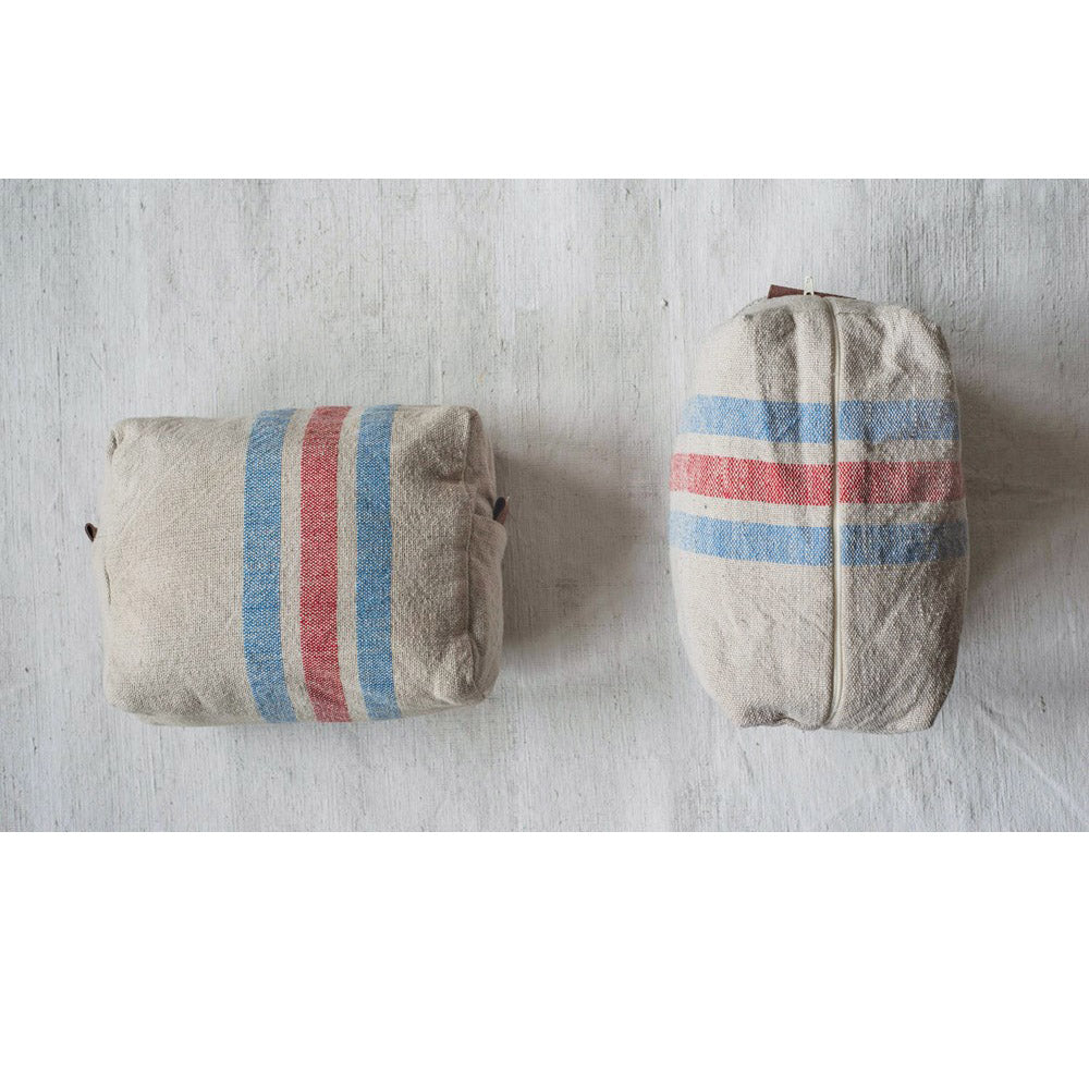 Cotton Zip Striped Pouch