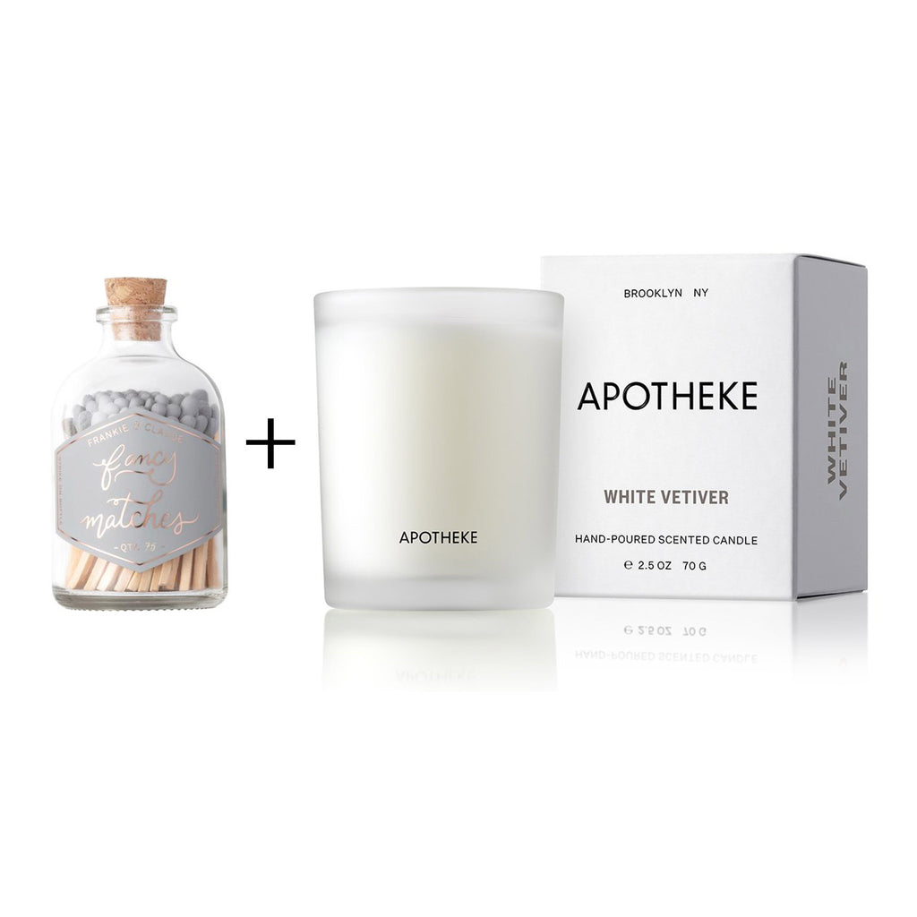 cozy scent gift box with frankie and claude small match jar and apotheke white vetiver votive candle