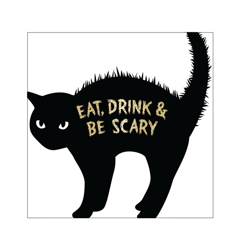 cr gibson eat drink and be scary black cat halloween party beverage napkins