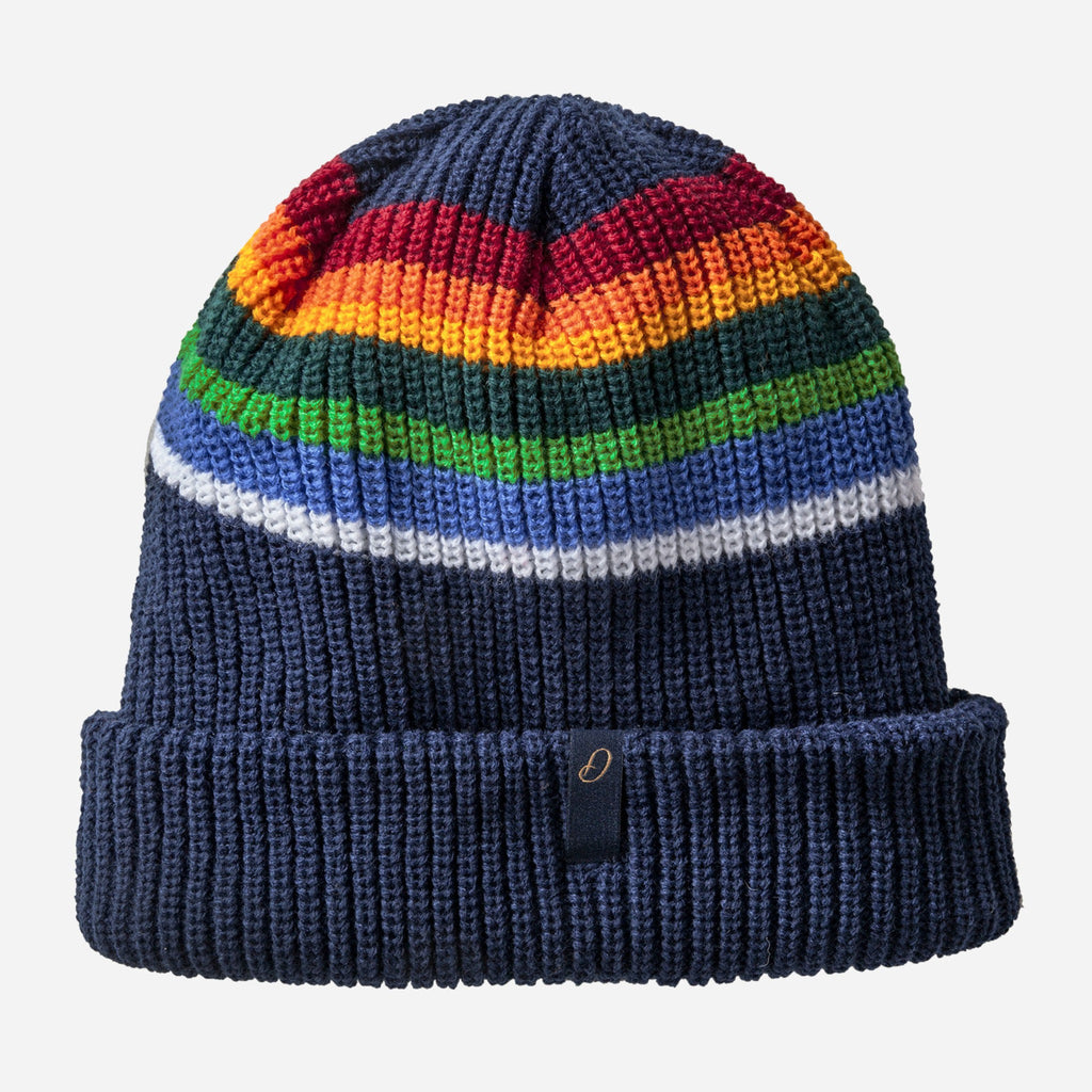 navy blue knit beanie hat with red, orange, green, blue, and white stripes