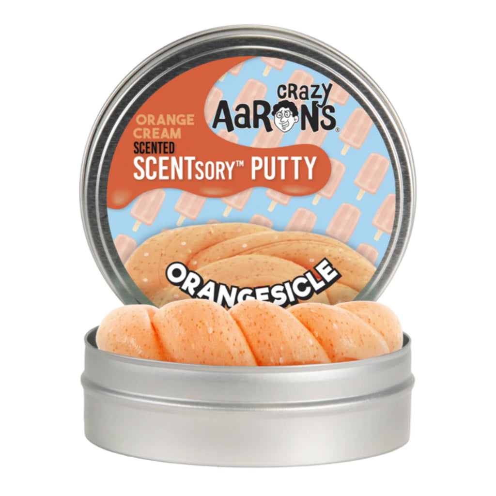 crazy aaron's scentsory thinking putty orangesicle orange cream scented orange with white flecks putty in tin packaging