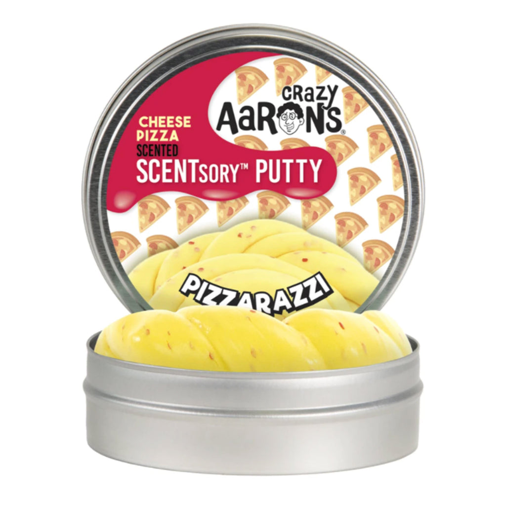 crazy aaron's scentsory thinking putty pizzarazzi cheese pizza scented yellow with red flecks putty in tin packaging