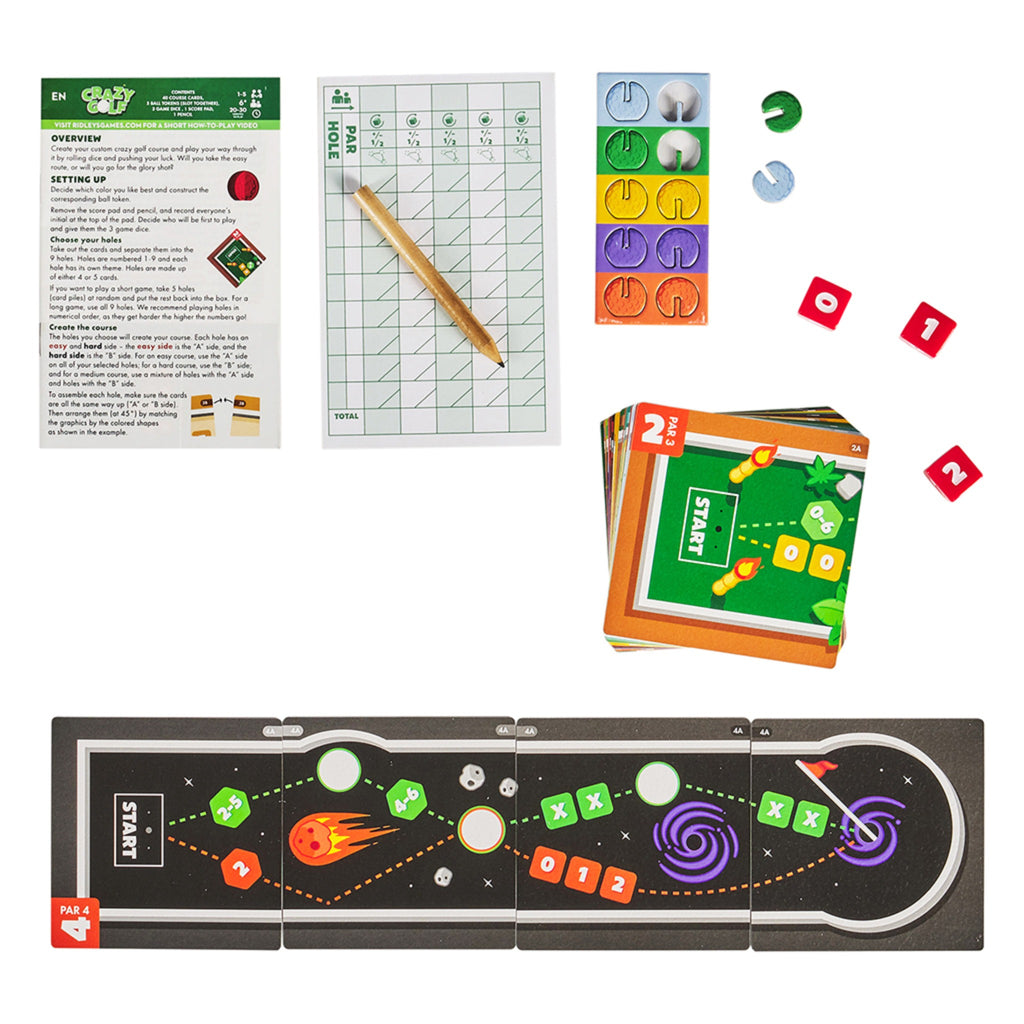 crazy golf game pieces included score card pad, mini pencil, red dice, game cards, and golf course board