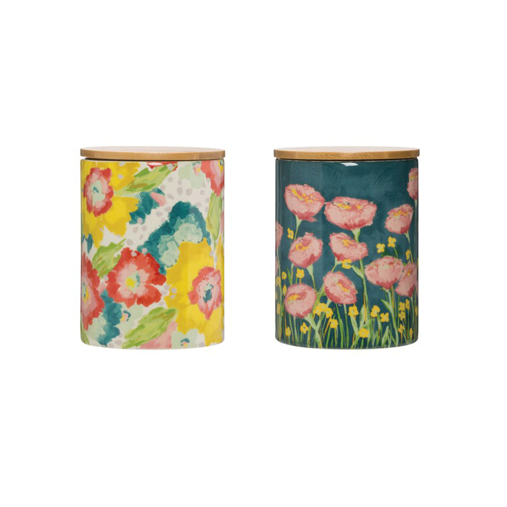 creative co-op floral patterned stoneware canister with bamboo lid kitchen storage container