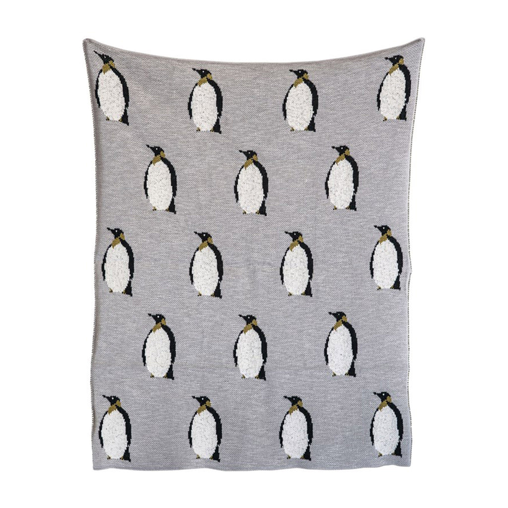 creative co-op gray cotton knit baby blanket with black and white penguins