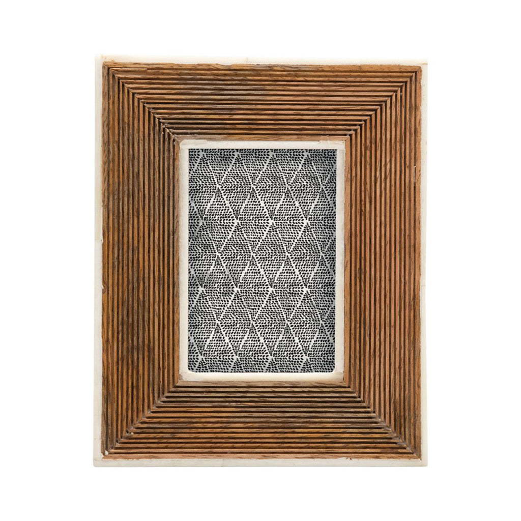 creative co-op hand carved mango wood photo picture frame with bone border