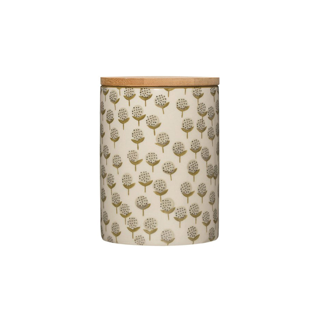 creative co-op hand stamped floral patterned stoneware canister with bamboo lid kitchen storage