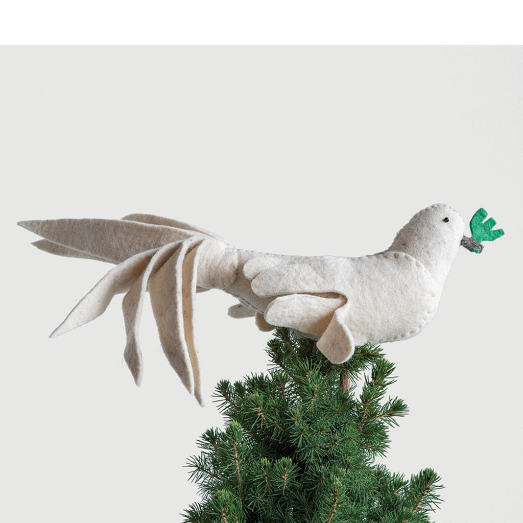 creative coop ivory wool felt dove tree topper christmas decoration on tree top