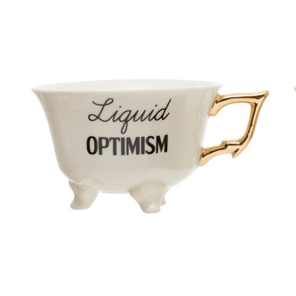 creative co-op liquid optimism 6 ounce white stoneware footed teacup