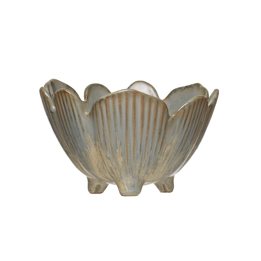 creative co-op round porcelain flower shaped bowl with blue reactive glaze side view