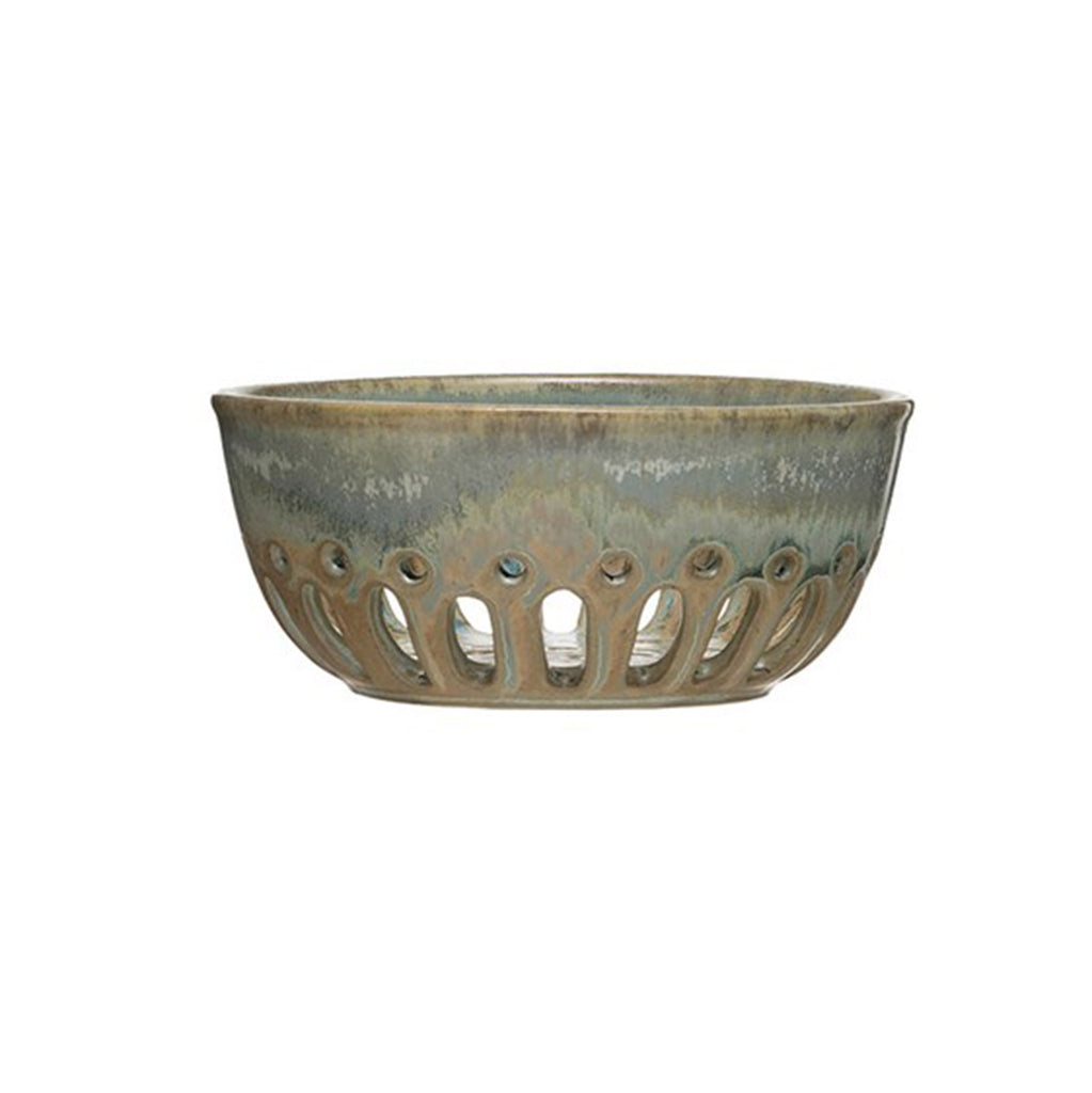 creative co-op round stoneware berry bowl with reactive glaze in blue or beige side view