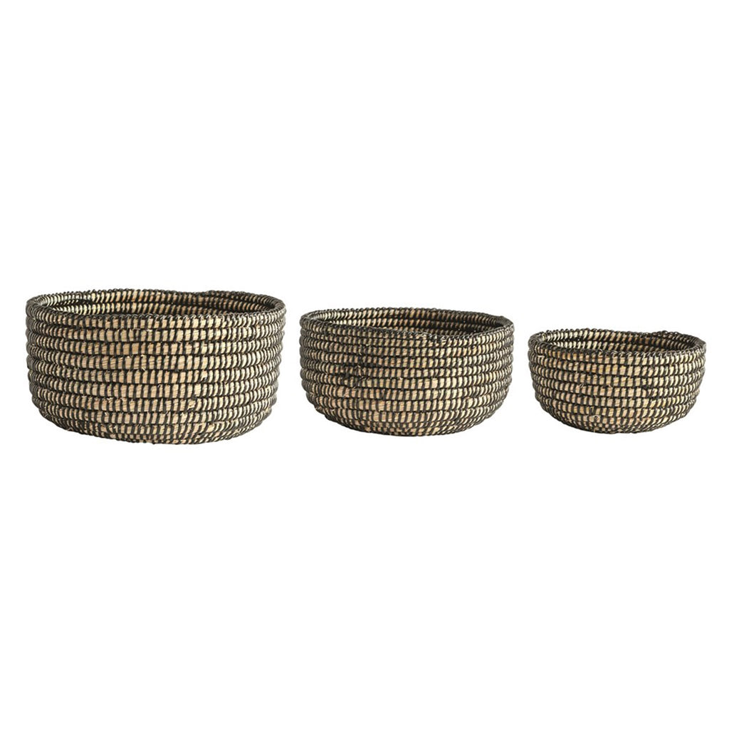 creative coop set of three natural hand woven grass baskets with black binding