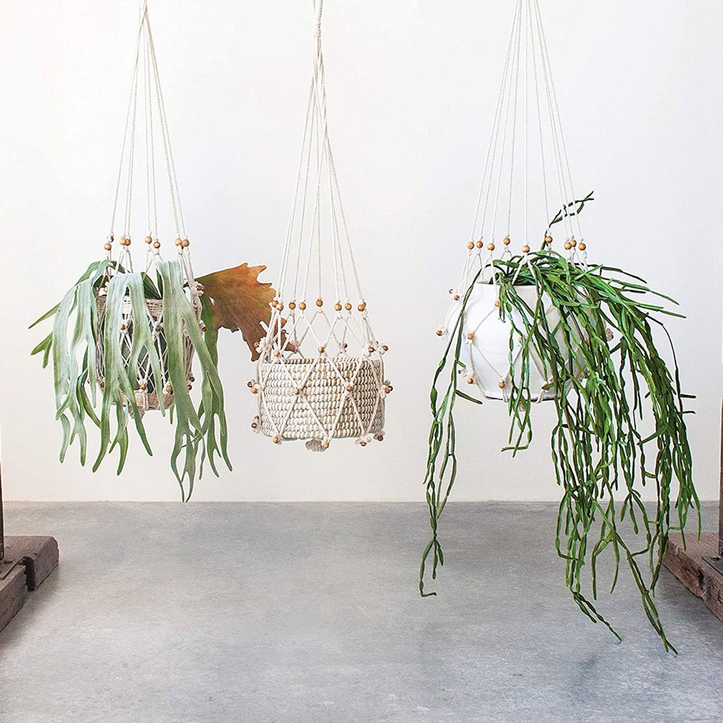 creative co-op small cotton macrame decorative plant hanger with wood beads with plant options