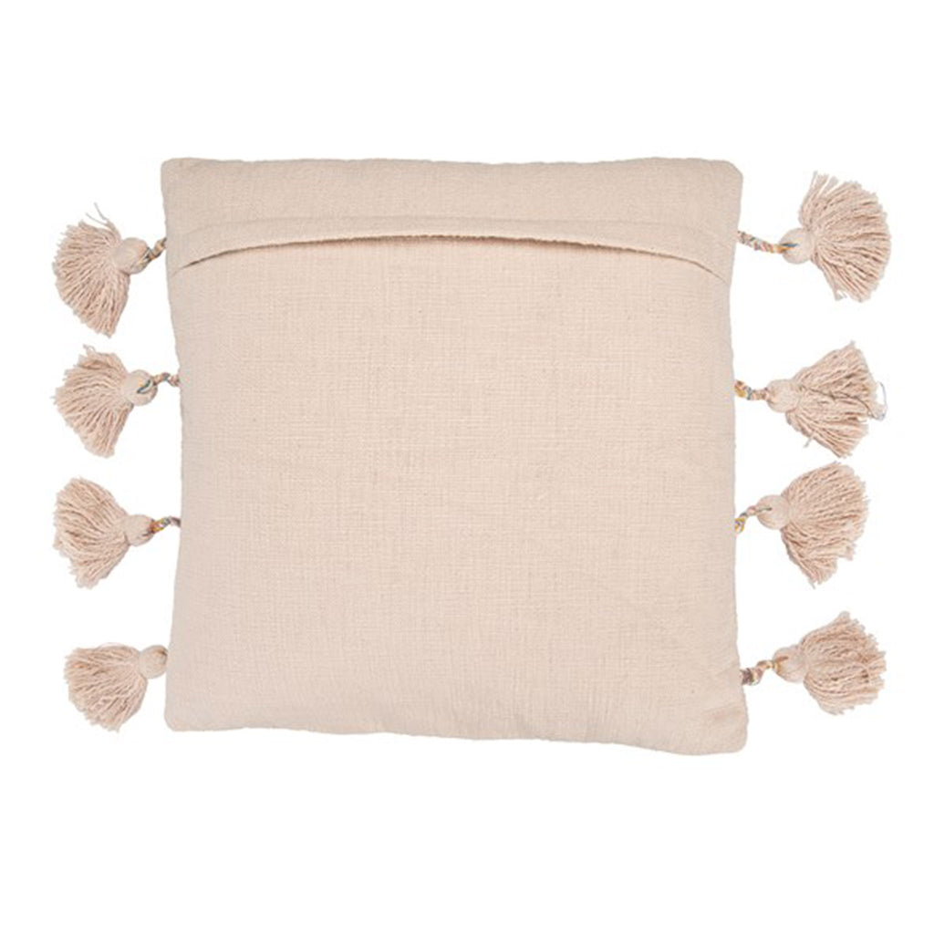pink square cotton embroidered decorative throw pillow with tassels back