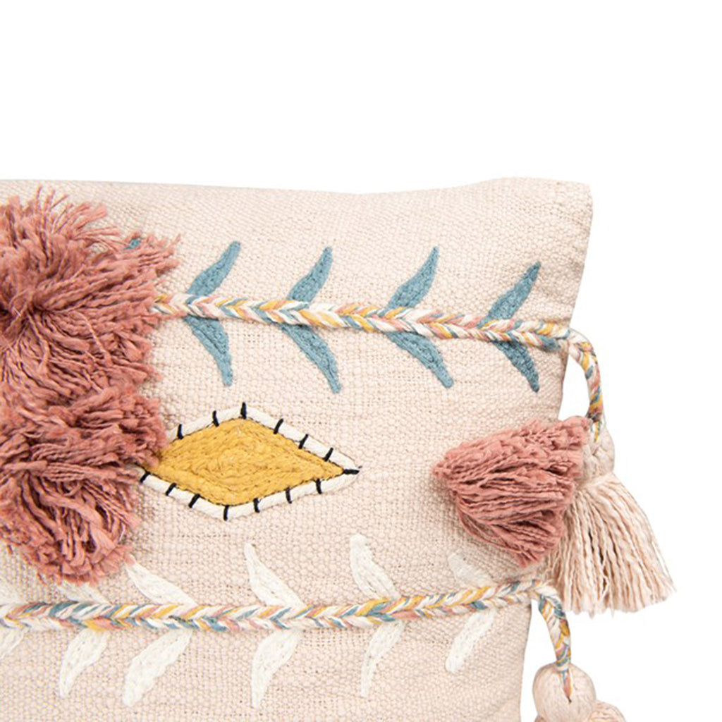 pink square cotton embroidered decorative throw pillow with tassels detail