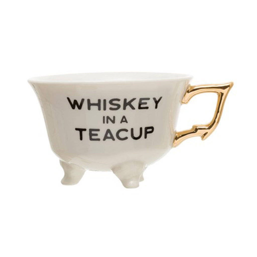 creative co-op whiskey in a teacup 6 ounce white stoneware footed teacup