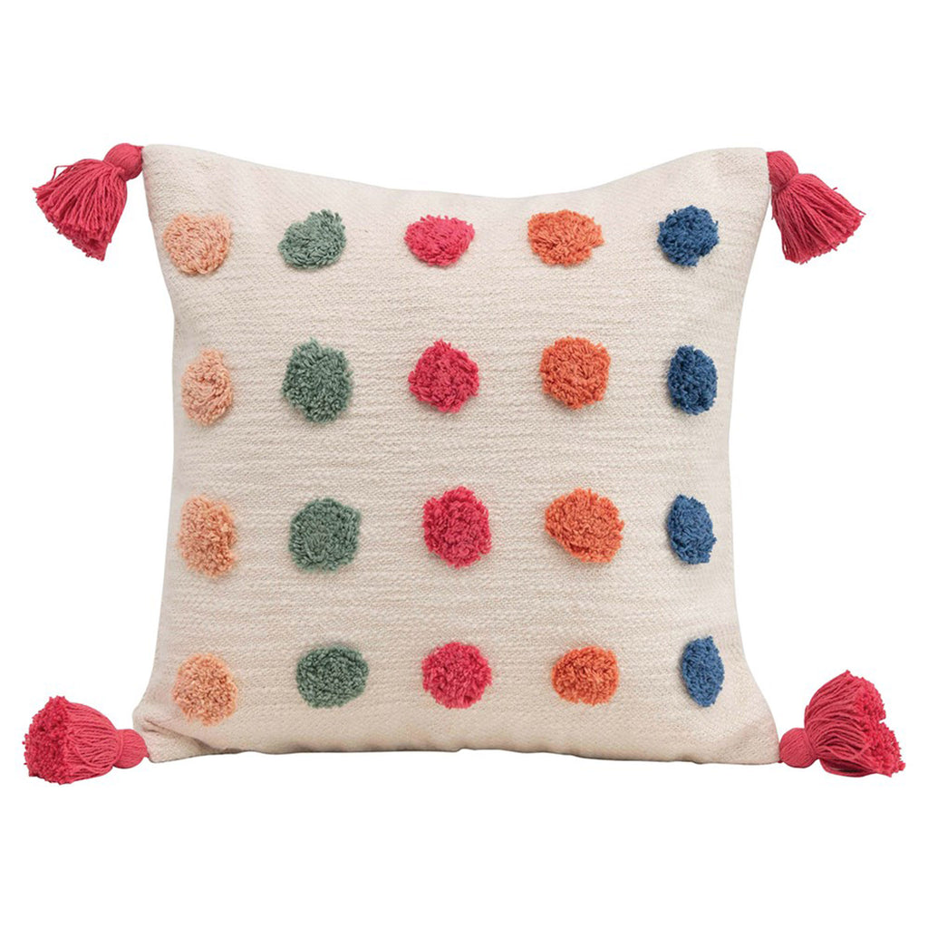 creative co-op woven cotton square decorative pillow with multicolored tufted dots and pink tassels