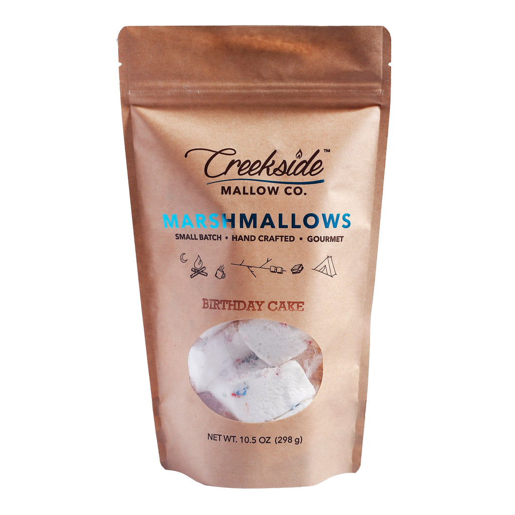 creekside mallow company birthday cake flavored marshmallows 12 pack in resealable bag