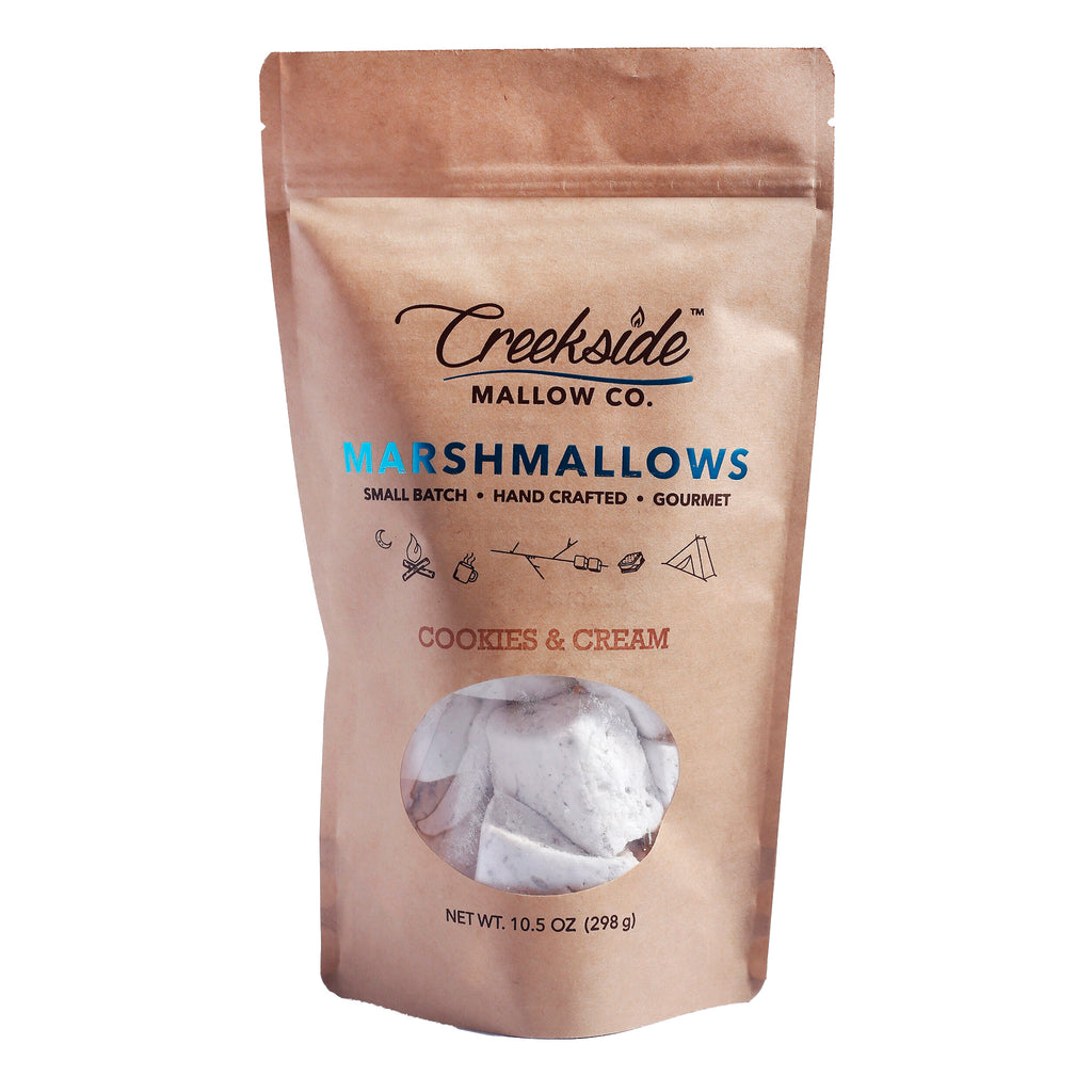 creekside mallow company cookies & cream flavored marshmallows 12 pack in resealable bag