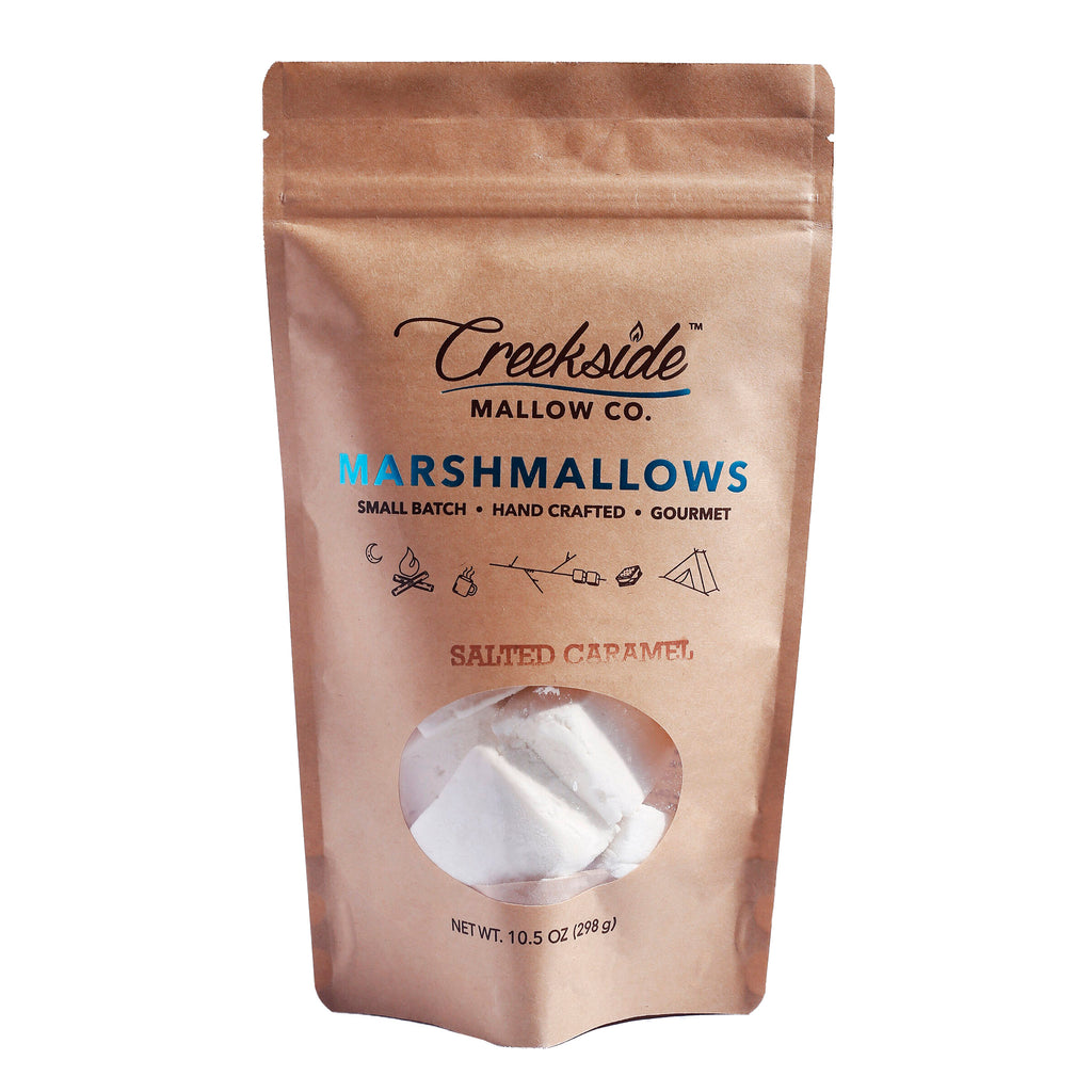 creekside mallow company salted caramel flavored marshmallows 12 pack in resealable bag