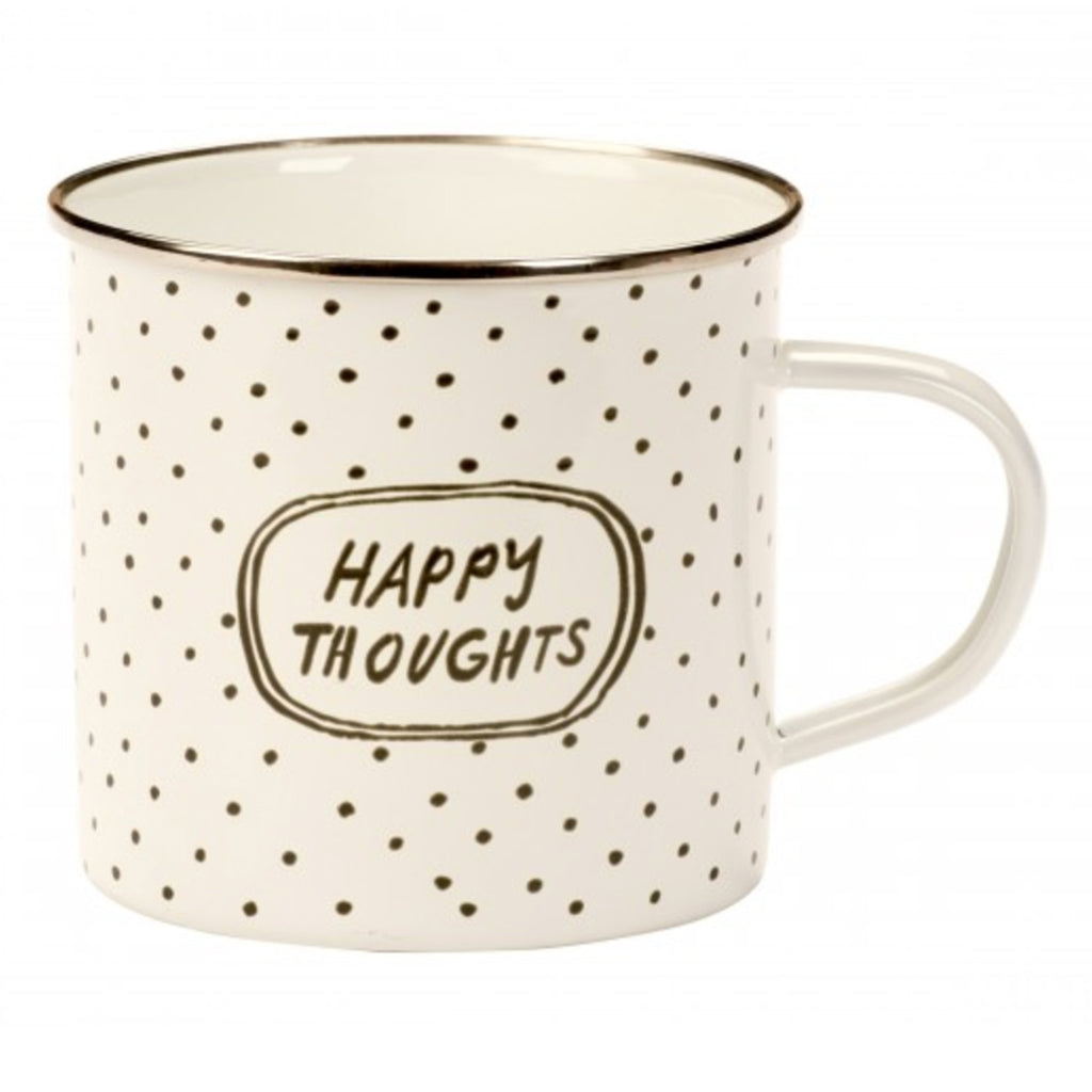 happy thoughts enamelware mug