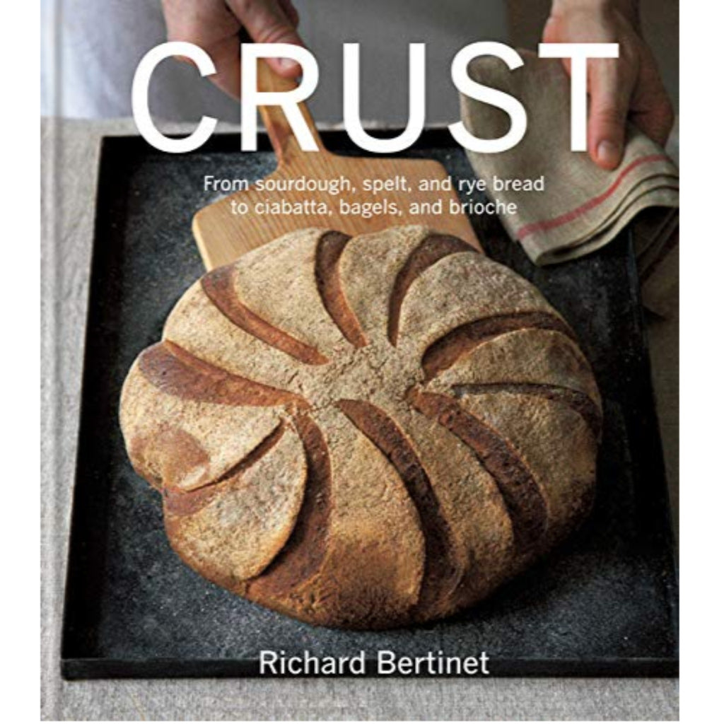 crust cookbook cover with photograph of round loaf of bread