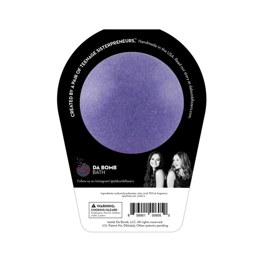 "da bomb ""f"" bomb purple lavender scented bath fizzer with surprise packaging back"