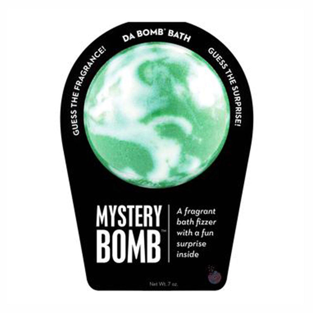 da bomb mystery bomb green and white mystery scented bath fizzer with surprise inside in packaging front