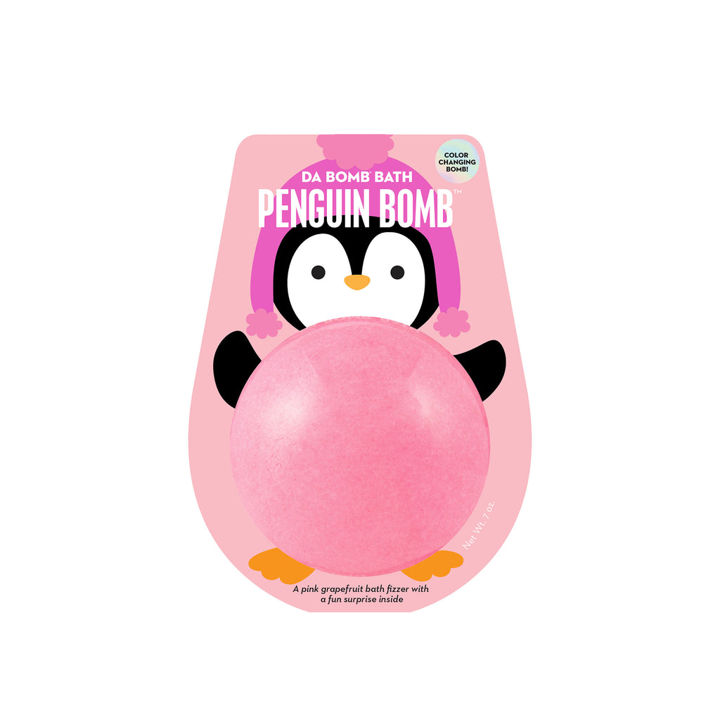 da bomb penguin color changing pink grapefruit scented holiday bath bomb fizzer in packaging