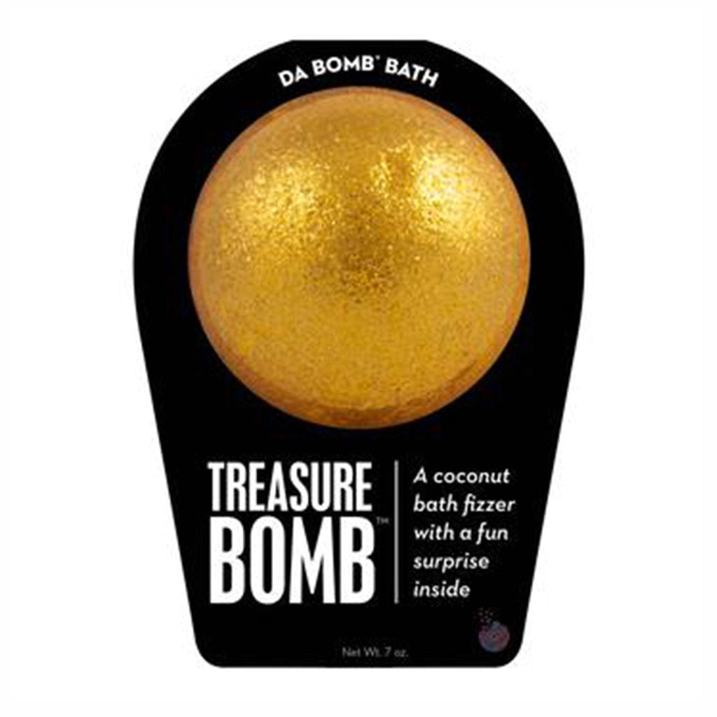da bomb treasure bomb gold coconut scented bath fizzer with surprise inside front of packaging