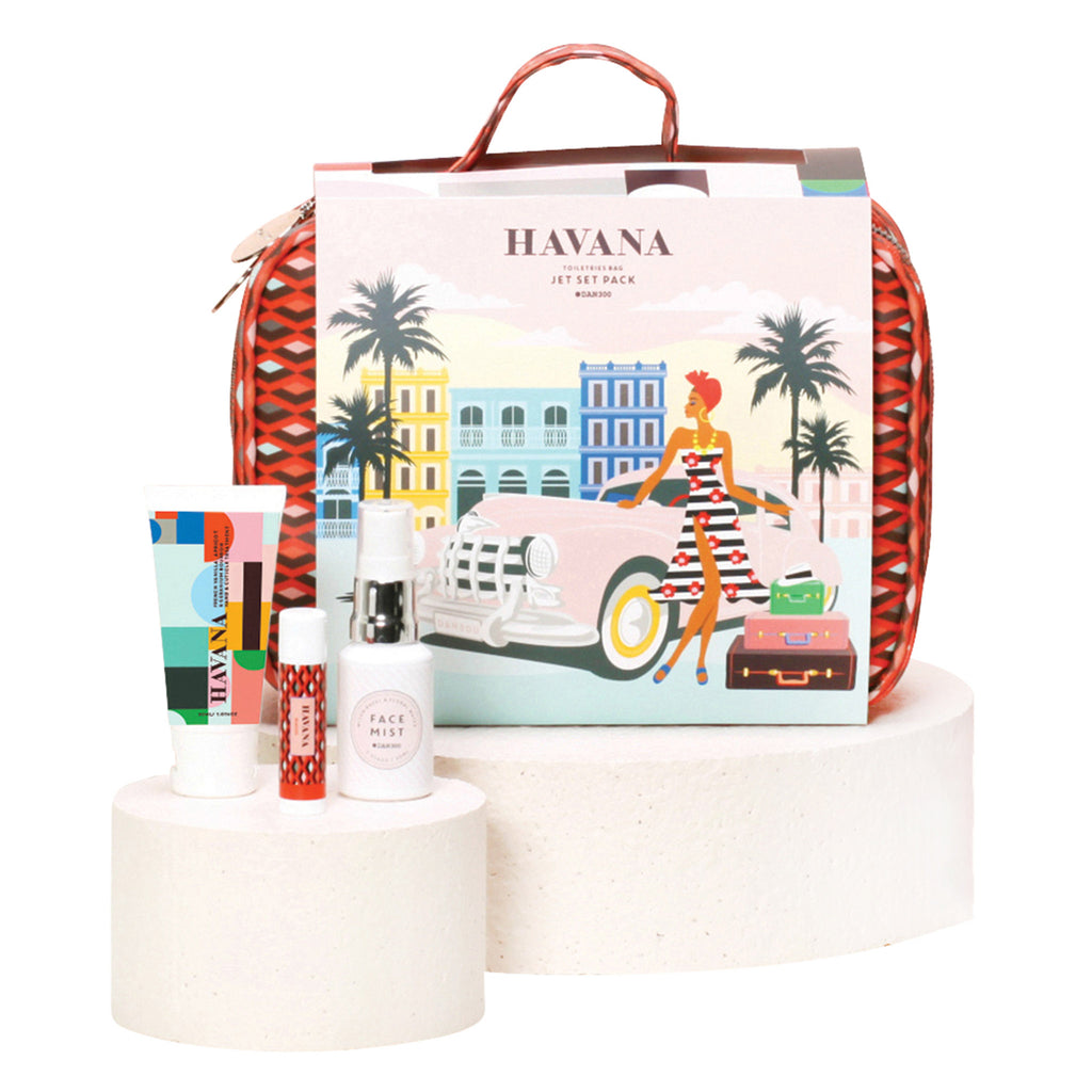 dan300 havana jet set pack toiletries bag four piece gift set
